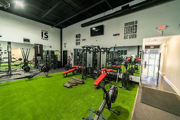 Turf workout area